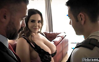 Husband watches his pupil win sucked by his big tits wife